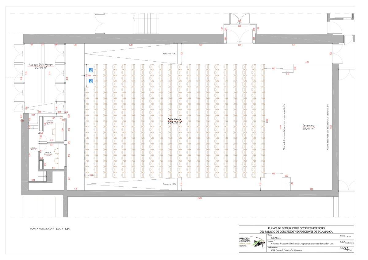 Sala Menor plano Palacio de congresos de Salamanca